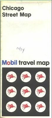 1973 Mobil Chicago  Vintage Road Map