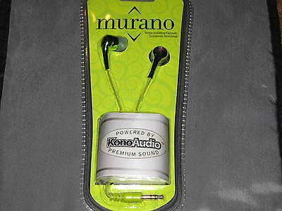 Murano Earbuds Green Noise Isolating 3.5mm Plug MP3 Phone Stereo NEW!