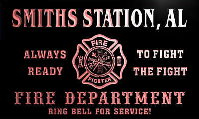 qy50388-r FIRE DEPT SMITHS STATION, AL ALABAMA Firefighter Neon Sign