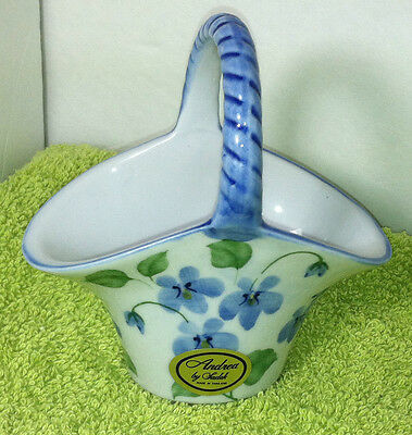 Andrea by Sadek Blue Violets Floral Hand Painted Small Basket W/ Handle 4""