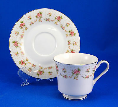 Nitto ORLEANS 4039 Flat Cup and Saucer Set 3 in. Peach Pink Blue Floral Platinum