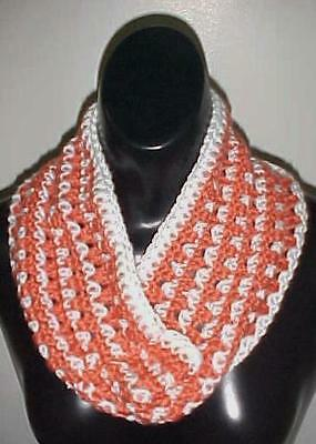 Hand Crochet Loop Infinity Circle Scarf/Neckwarmer #126 Paprika/White New