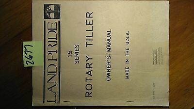 Land Pride 15 Series Rotary Tiller Owner's Operator's Manual w/Illust Parts 2/89