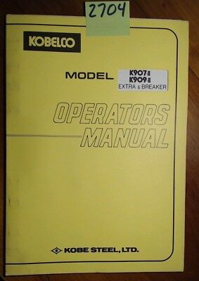 kobelco k907 ii k909 ii extra breaker owner s operator s manual rh picclick com kobelco sk135sr operators manual kobelco operators manual download