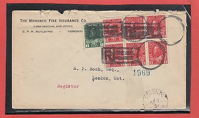 1921 Admiral cover Registered keyhole Toronto to London 7 stamps block acts