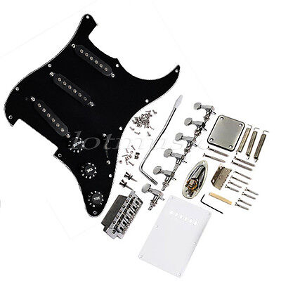 Guitar Loaded Pickguard Tremolo Knob Bridge Set for Strat Guitar Parts Black