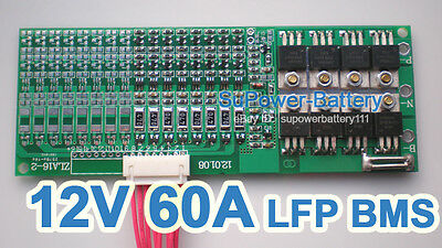 12V 14.6V 60A LiFePo4 Battery BMS LFP PCM SMT System 4S eBike battery Pack / DIY