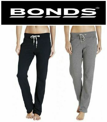 Womens Bonds Black Grey Wide Leg Trackies Trackie Pants Track Ladies Pants Gym