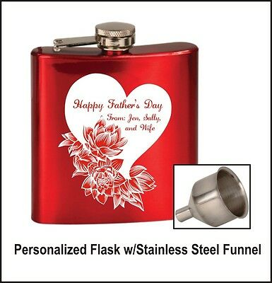 Personalized Laser Engraved Flask - You Choose Color and Design!  w/FREE Funnel