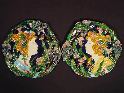 PAIR of RARE LARGE YOUNG WOMEN PLAQUES MAJOLICA ART NOUVEAU