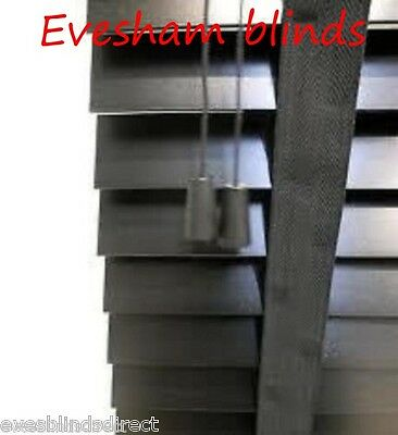 Made To Measure Black 50Mm Wooden Venetian Window Blind With Tapes Real Wood