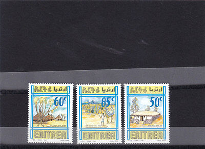 stamps ERITREA 1998 SC 308-310 DWELLINGS HOUSES IPAZ ITALY MNH SET ER#12 LOOK