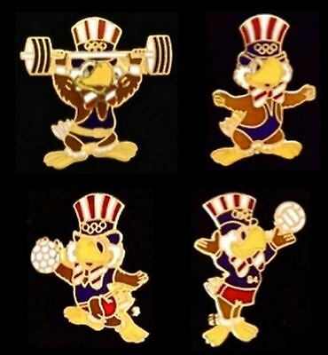 Lot of 4~Olympic Pin Badge~Mascot Sam the Eagle~Los Angeles 1984~LA~Sports~NOS!!