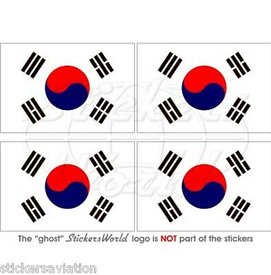 "SOUTH KOREA Flag Daehan Minguk HANGUK Korean 50mm (2"") Vinyl Stickers, Decals x2"