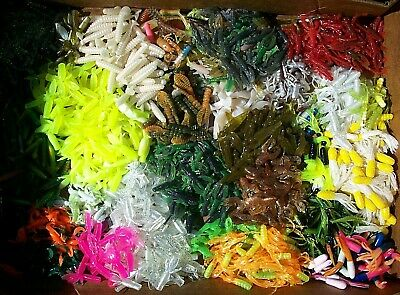 """100pc PANFISH ASSORTMENT 1"""" to 2"""" SOFT PLASTIC BAITS Trout/Crappie/Bream/Perch"""