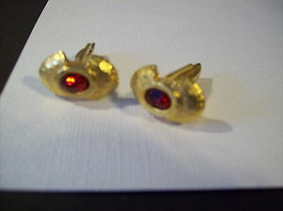 Vintage Cufflinks - Goldtone w/ Red Stone