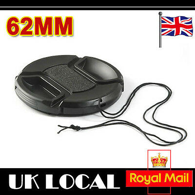 62mm snap on center pinch front lens cap for Canon Nikon Tamron Sony Camera UK