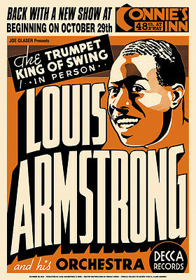 Louis Armstrong at  Connie's Inn New York Concert Poster Circa 1935