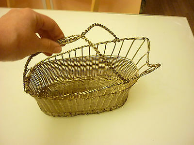 Vintage Antique Champagne Bottle Basket - Metal Wire Woven - Very Elaborate