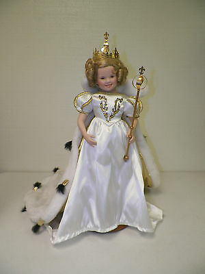 "Danbury Mint Shirley Temple Porcelain Doll With Stand 17 1/2"" Cape, Crown &"