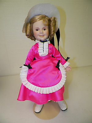 "Danbury Mint Shirley Temple Porcelain Doll With Stand 15"" Hot Pink Dress"