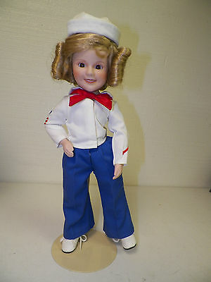 "Danbury Mint Shirley Temple Porcelain Doll With Stand 15""  Sailor"