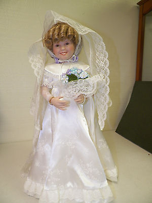 "Danbury Mint Shirley Temple Porcelain Doll With Stand 15""  Bride"