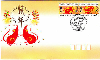 1996 Christmas Island Year Of The Rat (Gummed Pair) FDC