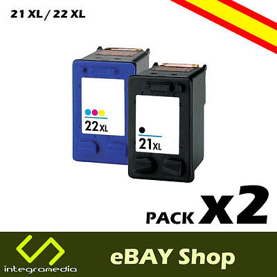 2 Cartuchos Compatibles 21 XL Negro y 22 XL Color para HP Deskjet F370