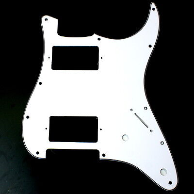 (B27) Custom Strat style HH Layout Guitar Pickguard ,3ply White