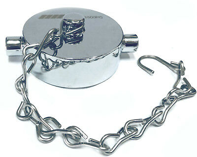 "1-1/2"" NST NH Fire Hose Hydrant Cap Polished Chrome on Brass & Stainless Chain"