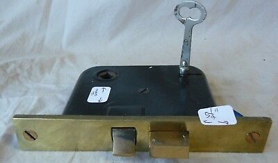 "Antique Mortise Door Bolt Lock w/key Cast Brass Face 5 1/2"" (priced per each)"