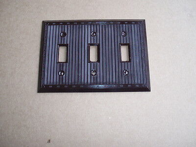 NOS Vintage 1950's Eagle Brown Bakelite Wall Plate  - 3 toggle light switch