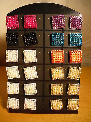 Joblot of 12 Pairs Square Crystal stud Earrings - NEW Wholesale