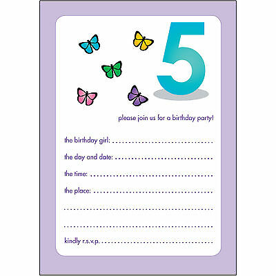 10 Childrens Birthday Party Invitations 5 Years Old Girl - BPIF-37 Butterflies