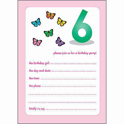 10 Childrens Birthday Party Invitations 6 Years Old Girl - BPIF-40 Butterflies