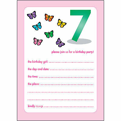 10 Childrens Birthday Party Invitations 7 Years Old Girl - BPIF-42 Butterflies