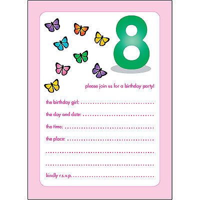 10 Childrens Birthday Party Invitations 8 Years Old Girl - BPIF-44 Butterflies