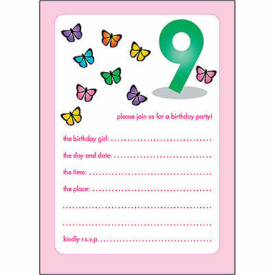 10 Childrens Birthday Party Invitations 9 Years Old Girl - BPIF-46 Butterflies