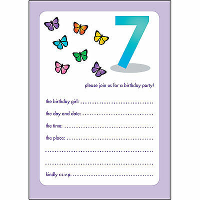 10 Childrens Birthday Party Invitations 7 Years Old Girl - BPIF-41 Butterflies
