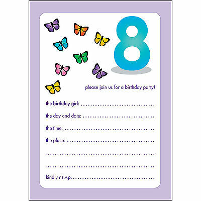 10 Childrens Birthday Party Invitations 8 Years Old Girl - BPIF-43 Butterflies