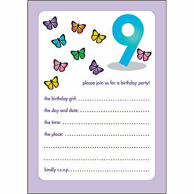 10 Childrens Birthday Party Invitations 9 Years Old Girl - BPIF-45 Butterflies