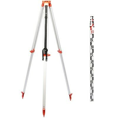 New 5M STAFF+ 1.65 M ALUMINUM TRIPOD FOR ROTARY LASER LEVELING LEVEL