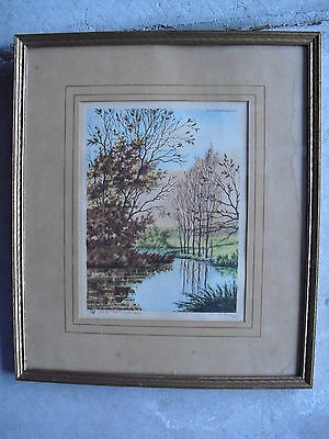 Early 1900s Etching Signed MARTIN titled Sunny Corner with Wood Frame