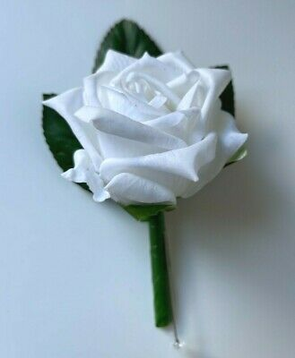 Latex touch wedding flower groom button hole rose roses White Cream Boutonniere