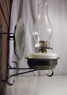Atq Milk Glass Wall Caboose Oil Lantern Lamp Signed P&A Alacite Gothic Nickel