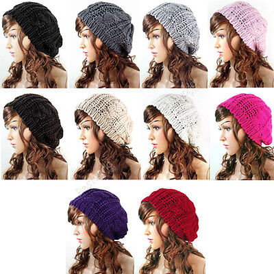 Women Ladies Baggy Beret Beanie Hat Chunky Cotton Knit Knitted Braided Ski Cap