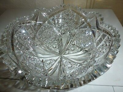 SIGNED RARE Antique Gundy, Clapperton Brilliant cut Crystal bowl circa 1905-1915