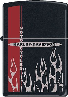 Zippo Harley Davidson Flame Black Matte Windproof Lighter NEW RARE