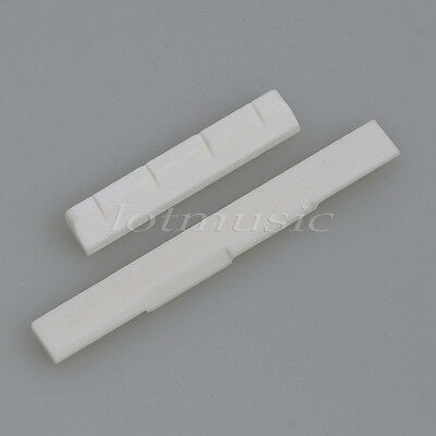 One Set Small 4 String Guitar Nut and Saddle Slotted Real Bone Guitar Parts
